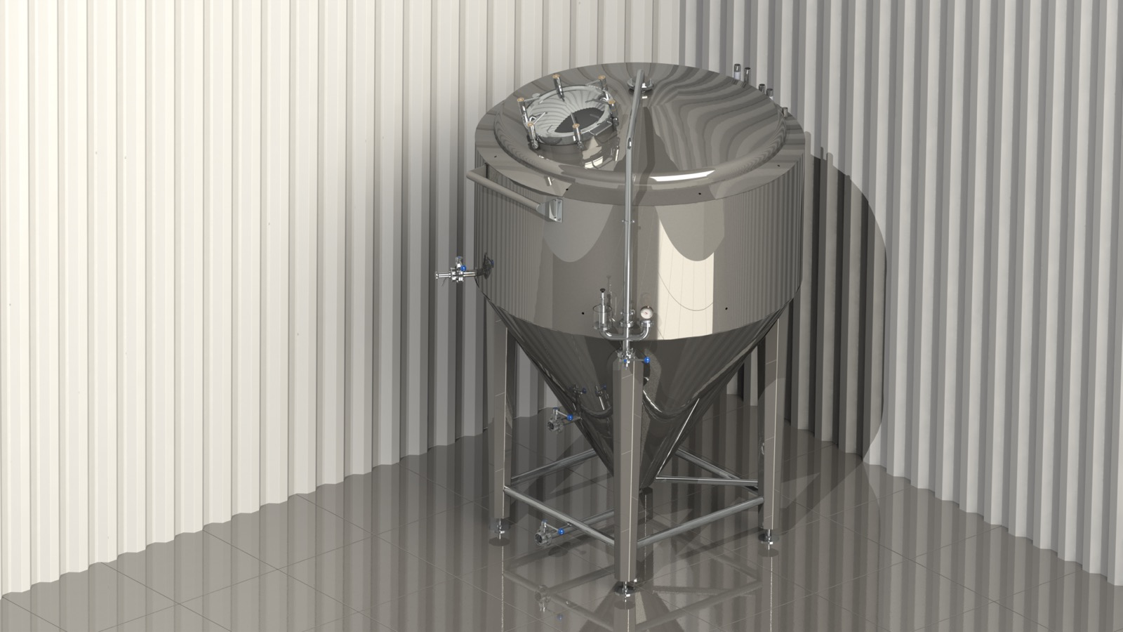 Low cylinder-conical tank at 4000l. with side hatch